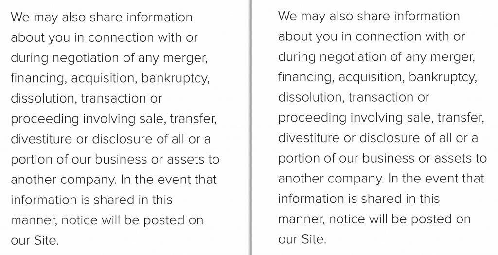 This screenshot shows the part of Instructure's Privacy Policy which allows them to share personal information in the event of a merger or sale.