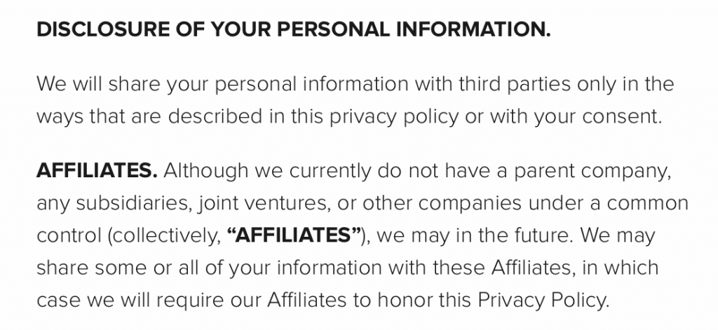 This screenshot shows the Affiliates Clause in Instructure's Privacy Policy.