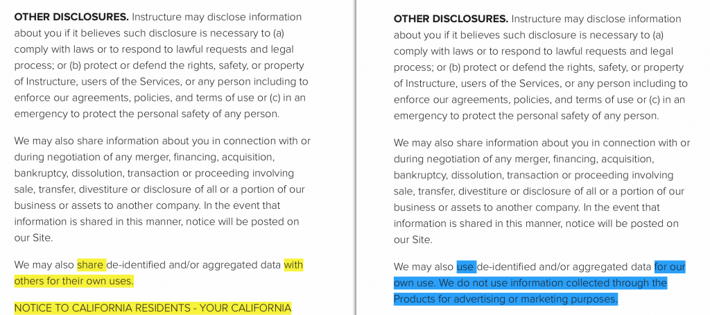 """This screenshot compares the changes to the """"Other Disclosures"""" area of Instructure's Privacy Policy."""